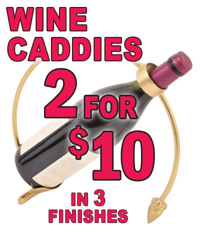 Metal Wine Caddies - Special Price 2 for $10 - 3 Finishes