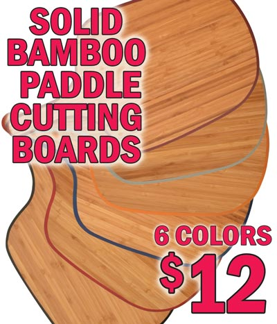 Solid Bamboo Paddle Cutting Boards $12 each - 6 Colors Black, Crimson, Blue, Orange, Grey, and Red