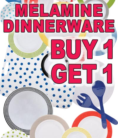 Melamine Dinnerware Buy One Get One Free - 3 Styles, 8 Colors
