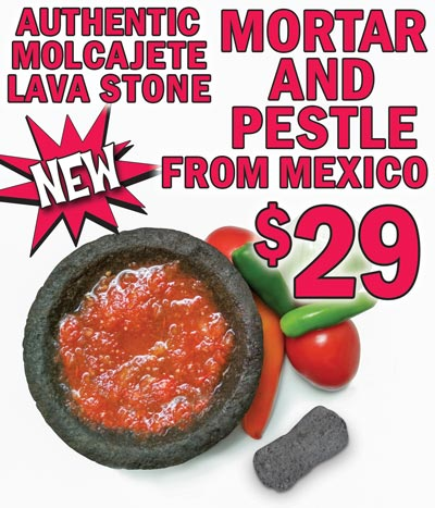 Authentic Molcajete Mortar and Pestle from Mexico - 8 inch diameter $29. It is pronounced mole ca hay tay. Hand carved from a single piece of lava stone, the rough interior texture is perfect for crushing and grinding spices, prepping salsas, and making guacamole and pesto. Before using your molcajete for the first time, you will need to cure and season it to prevent grit from loosening from the sides of your molcajete and getting in your food. The curing and seasoning process will take some time so for best results, don't rush or skip steps. Click here for printable instructions or open this YouTube video.