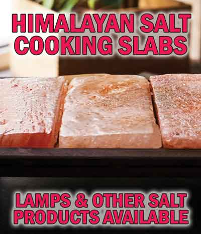 Himalayan Salt Cooking Slabs, Shot Glasses, Grinders, Lamps, and Candle Holders