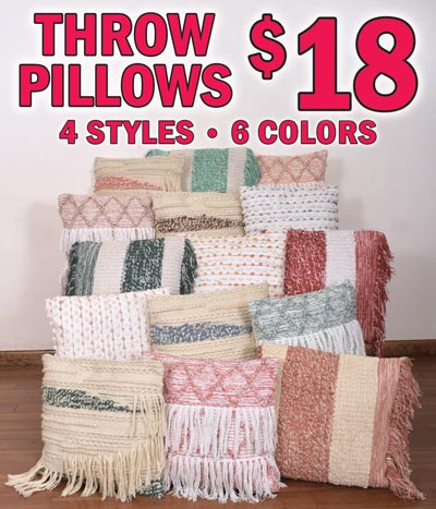 20 inch by 20 inch Cotton Throw Pillows $18 each - 4 styles, 6 colors Apricot, Blue, Brown, Clay, Green, and Red