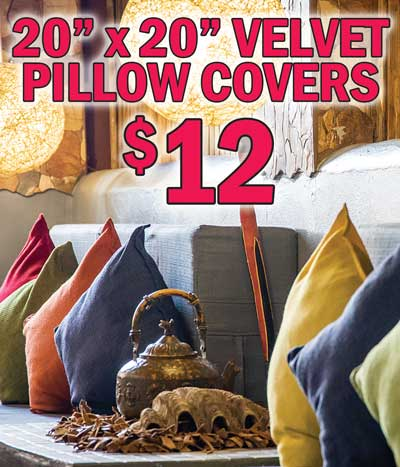 Velvet Pillow Covers 20 inches by 20 inches - $12 - Lots of Colors