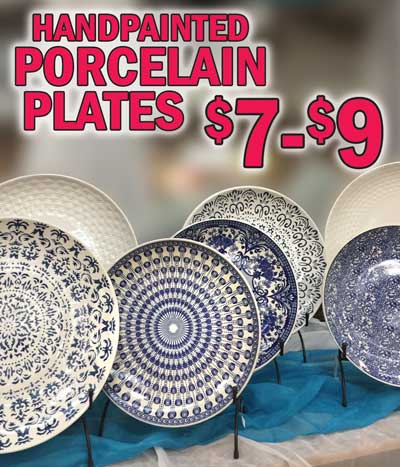 Hand-Painted Porcelain Plates - 10 Styles - $7 and $9. Click here to read our blog about the Blue and White Porcelain Renaissance.