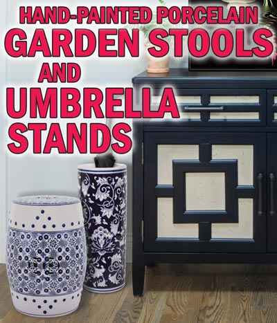 Hand-Painted Porcelain Garden Stools and Umbrella Stands - Variety of Styles