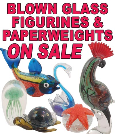 Hand-Blown Glass Figurines and Paperweights On Sale $4.50 to $19.50