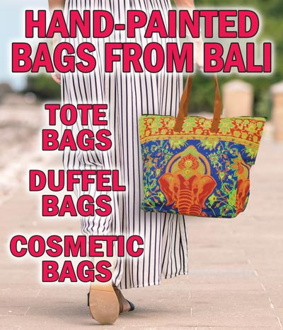 Colorful Hand-Painted Bags from Bali - Tote Bags, Duffel Bags, and Cosmetic Bags