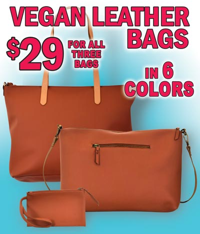 Vegan Leather Bags - $29 for 3 bag set - Hand Bag, Shoulder Bag, and Accessory Bag in 6 Colors