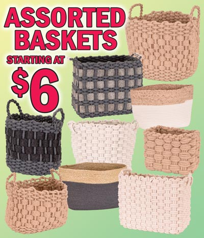 Assorted Baskets Closeout starting at $6 - Cotton Rope, Woven Jute, and Cotton Grass