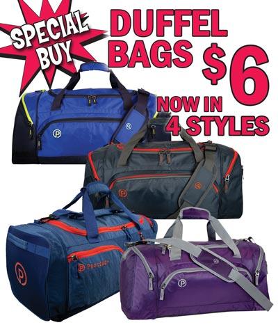 Roomy Duffel Bags - NOW in 4 Styles - Special Buy $6 each
