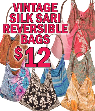Vintage Silk Sari Reversible Bags - $12 each - Roomy bag with long handles has differnt fabric inside and outside. It's like having two different bags in one. Variety of Patterns and Colors.