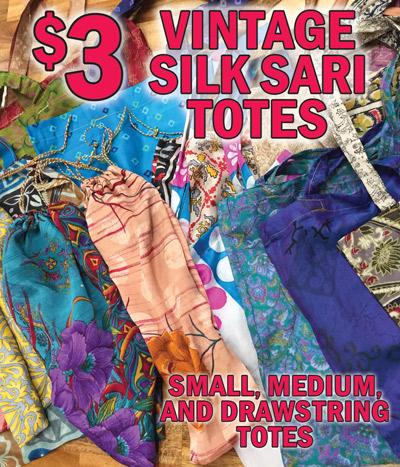 Vintage Silk Sari Tote Bags - $3 each - Small Totes, Medium Totes, and Drawstring Totes. Huge Selection of Colors and Patterns