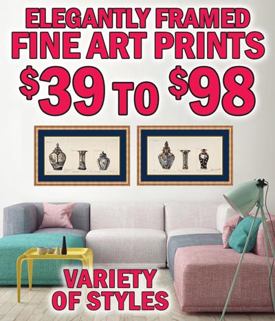 Framed Fine Art Prints - $39 to $98 - Great Selection of artwork from world class artists