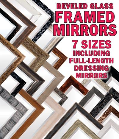 Framed Beveled Glass Mirrors – 7 Sizes including Full-Length Dressing Mirrors