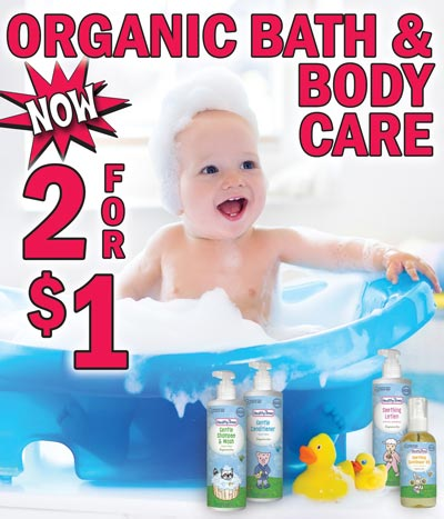 Healthy Times Organic Bath and Body Care - NOW 2 for $1 While They Last! - Shampoo, Conditioner, Sunflower Oil, and Lotion