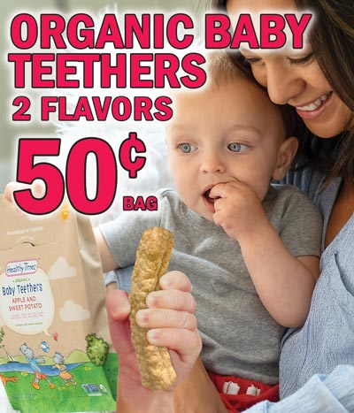 Healthy Times Organic Baby Teethers - 50 cents per package - 2 Flavors