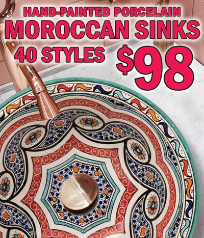 Hand-Painted Porcelain Moroccan Sinks