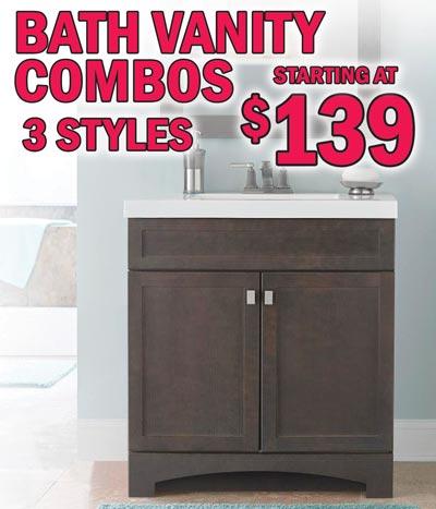 Bath Vanity Combos includes Vanity Top – starting at $139
