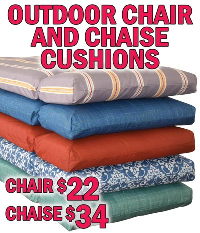 Outdoor Chair and Chaise Cushions - High Back Chair Cushions $22, Classic Chaise Cushions $34 - New Spring 2021 colors. Other Styles and Colors may be available at some stores. Please see store for details.
