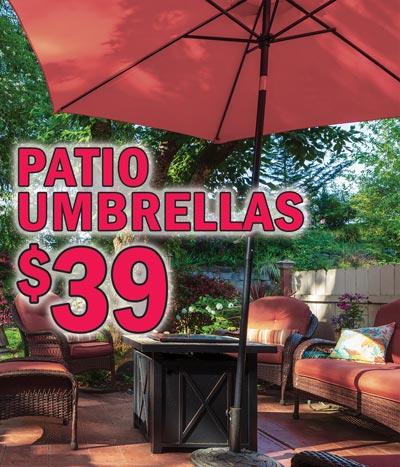 Patio Umbrellas $39, Banana Umbrellas $89