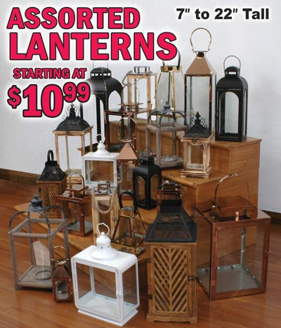 "Decorative Lanterns 7"" to 22"" Tall starting at $10.99"