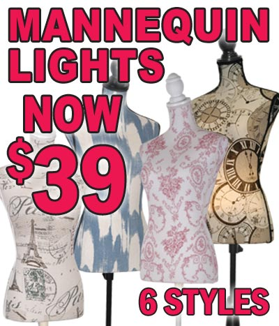 Mannequin Lamps ON SALE – 6 Styles $39