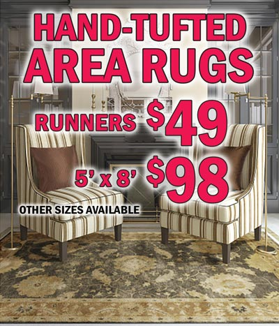 NEW Hand-Tufted Area Rugs made from New Zealand Wool - Runners $49, 5 by 8s $98, other sizes available, many in matching styles