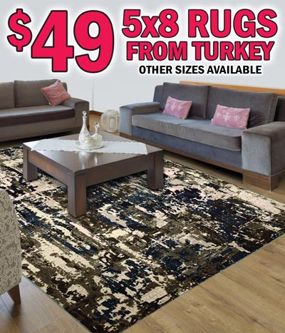 Turkish Rugs 5 by 8s starting at $49