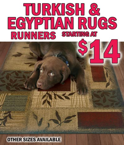 Turkish Egyptian Rugs runners starting at $14