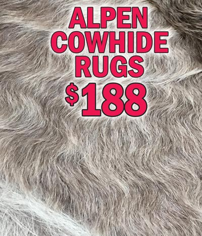 Alpen Shaggy Cowhide Rugs starting at $129