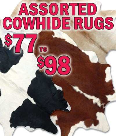 Assorted Cowhide Rugs starting at $77