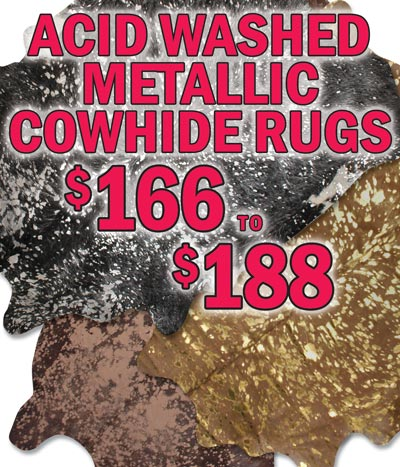 Acid Washed Metallic Cowhide Rugs $166 to $188