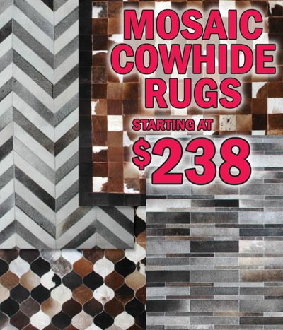 Mosaic Cowhide Rugs in 3 sizes staring at $238