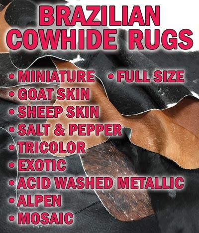 Brazilian Cowhide Rugs Huge Variety of Styles