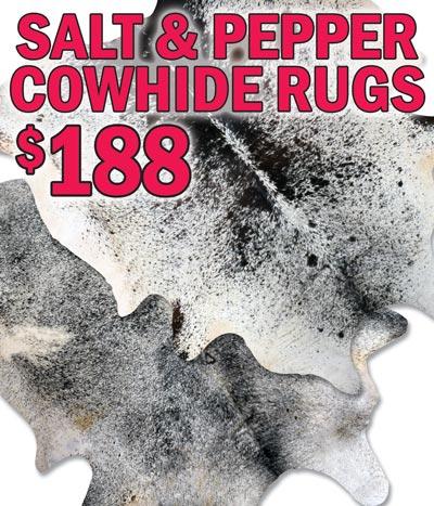 Salt and Pepper Cowhide Rugs $188