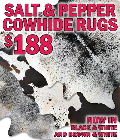 Salt and Pepper Cowhide Rugs $188 in Black and White and Brown and White