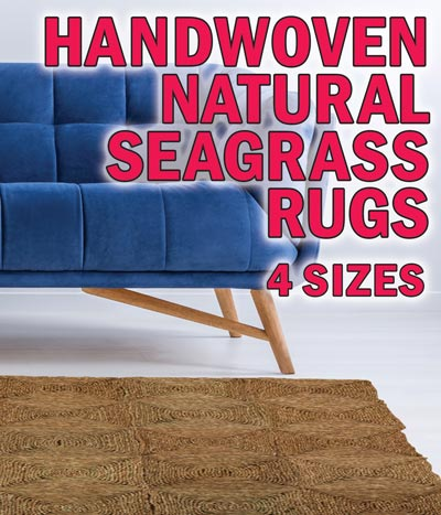 Handwoven Seagrass Rugs – 6 Sizes – starting at $15