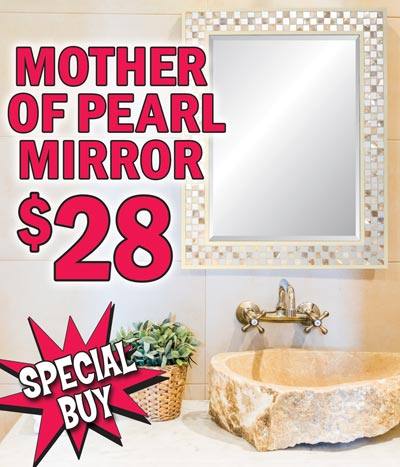 Mother of Pearl Framed Beveled Glass Mirror - Special Buy $28 - 28 inches by 22 inches, made with REAL mother of pearl