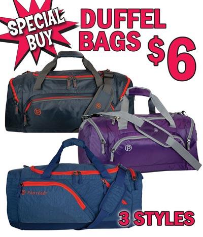 Roomy Duffel Bags - 3 Styles - Special Buy $6 each