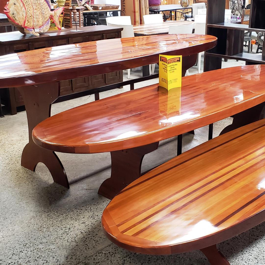 Check out these gorgeous Paddle Board Tables! They're artisan-made of solid red cedar. Available in 3 sizes, $1288.