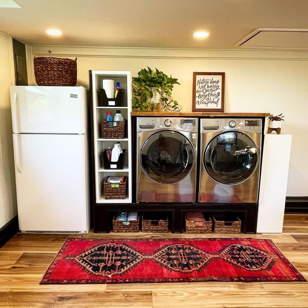 Here's an excellent space saver built by @greytinmillco and her husband. They used our Butcher Block Countertops above the washer and dryer.