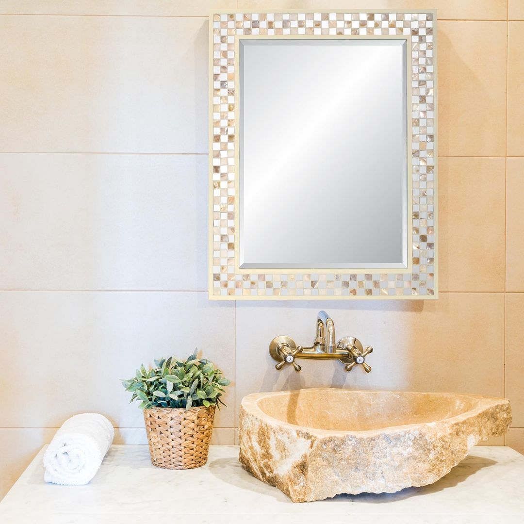 SPECIAL BUY: Add a touch of elegance with one of our Mother of Pearl Framed Beveled Glass Mirrors. $28 each.