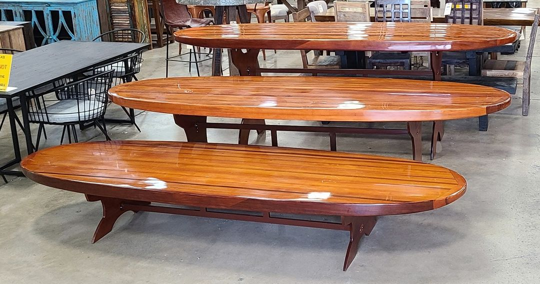 Price drop! Our Paddle Board Tables are now $888. These beautiful tables are made of solid red cedar and have been sealed with an 8-step urethane finish. They come in bar, dining, and coffee table height.   Photo taken at our Chattanooga store.