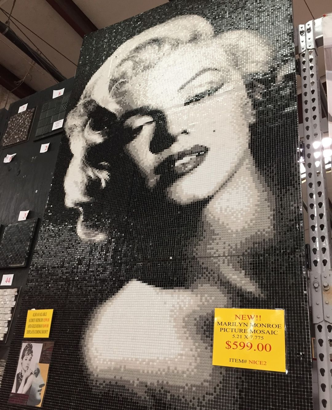 Add a bit of Hollywood glam in the form of an accent wall. This mosaic is BIG—she measures 5.21 'x 7.775'. These can be ordered by all stores from our Chattanooga location. We also have Audrey Hepburn and Roman styles!
